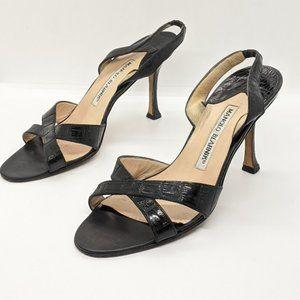 Manolo Blahnik Snakeskin Sling Back Black heel